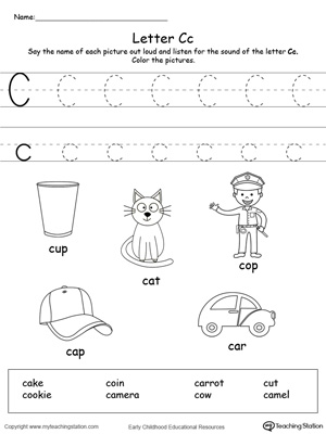 words starting with letter c  myteachingstationcom words starting with letter c  page worksheet