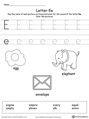 letter e alphabet flash cards for preschoolers. Black Bedroom Furniture Sets. Home Design Ideas