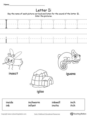Preschool learning letter sounds printable activity worksheets. Encourage your child to learn letter sounds by practicing saying the name of the picture and tracing the uppercase and lowercase letter I in this printable worksheet.