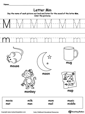 math worksheet : words starting with letter m  myteachingstation  : Letter M Worksheet Kindergarten