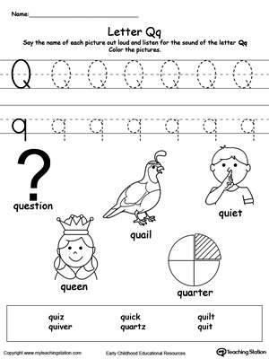 Words Starting With Letter Q | MyTeachingStation.com