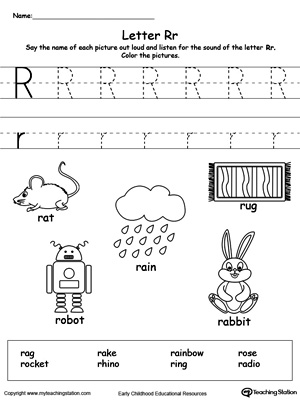 Letter R Printable Alphabet Flash Cards For Preschoolers
