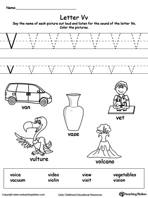 Words Starting With Letter V | MyTeachingStation.com