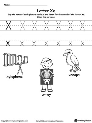 Worksheets X Pictures For Kindergarten words starting with letter x myteachingstation com x