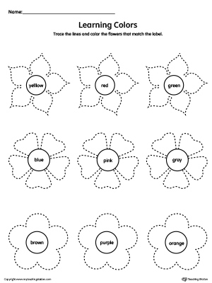 Learning Colors and Tracing Flowers Worksheet is perfect for practicing basic color names along with tracing curved lines in this downloadable worksheet.