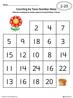 kindergarten patterns printable worksheets  myteachingstationcom counting by twos number maze worksheet in color