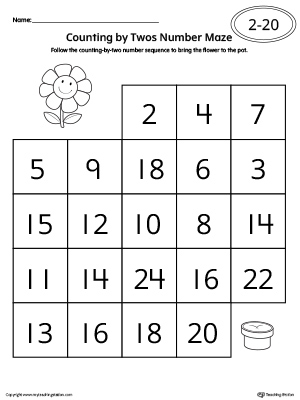 Counting By Twos Number Maze Worksheet Myteachingstation