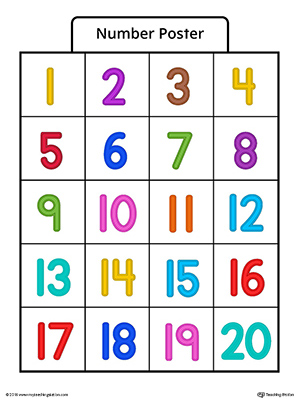image regarding Free Printable Number Cards 1-20 named Amount Poster 1-20 within just Coloration