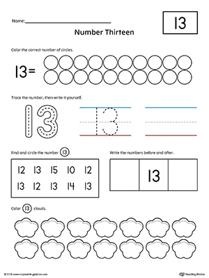 Number 13 Practice Worksheet | MyTeachingStation.com
