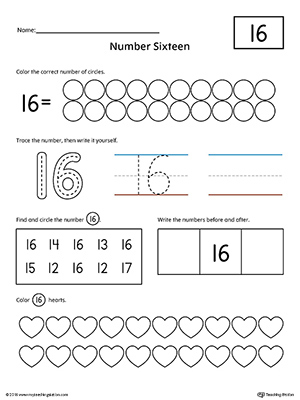 Number 16 Practice Worksheet | MyTeachingStation.com