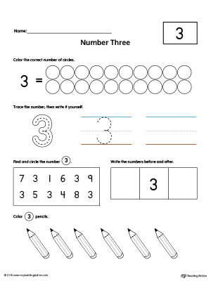 Number 3 Practice Worksheet