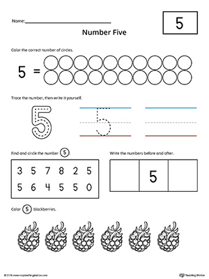 Number 5 Practice Worksheet | MyTeachingStation.com