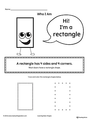Learn the geometric shape - rectangle, with a fun and simple activity. This printable is perfect for introducing the concept of shapes to children in preschool.
