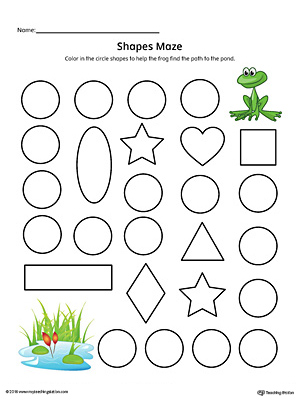 Circle Shape Maze Printable Worksheet (Color)