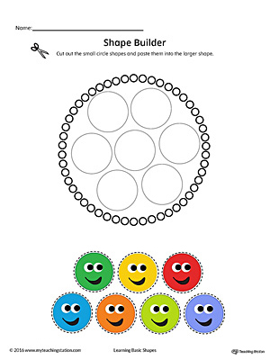 Geometric Shape Builder Worksheet: Circle (Color)