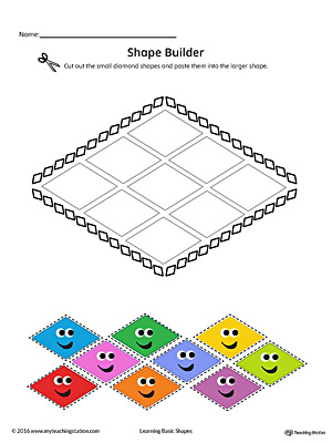 Geometric Shape Builder Worksheet: Diamond (Color)