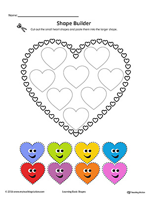 Geometric Shape Builder Worksheet: Heart (Color)