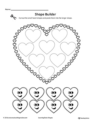 Use the Heart Geometric Shape Builder Worksheet to help your child practice recognizing basic geometric shapes.