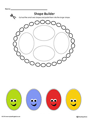 Geometric Shape Builder Worksheet: Oval (Color)