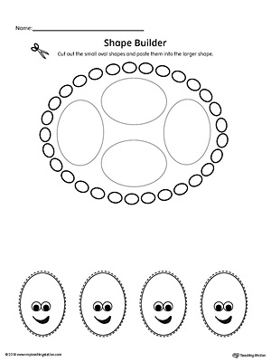 Geometric Shape Builder Worksheet: Oval