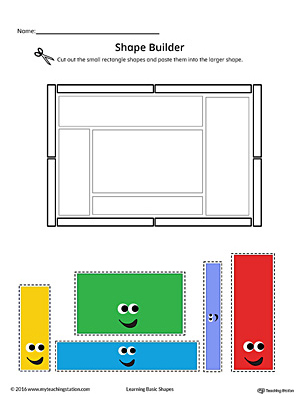 Geometric Shape Builder Worksheet: Rectangle (Color)