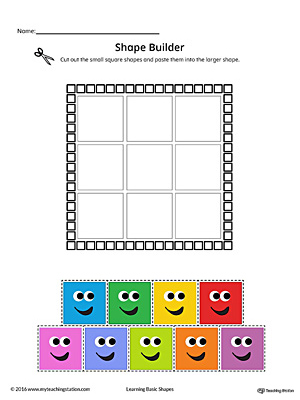 Geometric Shape Builder Worksheet Square Color on Basic Shape Page