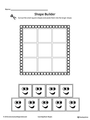 Use the Square Geometric Shape Builder Worksheet to help your child practice recognizing basic geometric shapes.