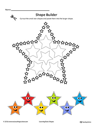 Geometric Shape Builder Worksheet: Star (Color)