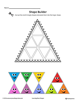 Geometric Shape Builder Worksheet: Triangle (Color)