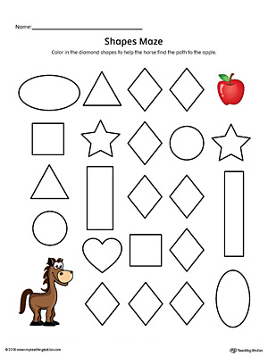 Diamond Shape Maze Printable Worksheet (Color)