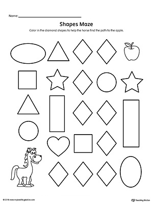 diamond shape maze printable worksheet on geometric shapes worksheets ...