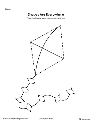 Diamond Shape Picture Tracing Worksheet | MyTeachingStation.com