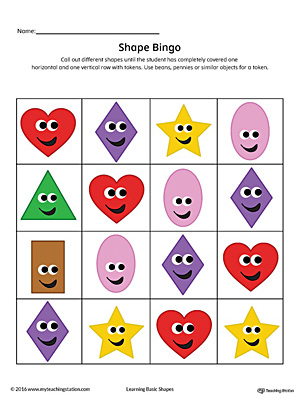 Geometric Shape Bingo Printable Card: Heart, Diamond, Oval, Rectangle, Star (Color)