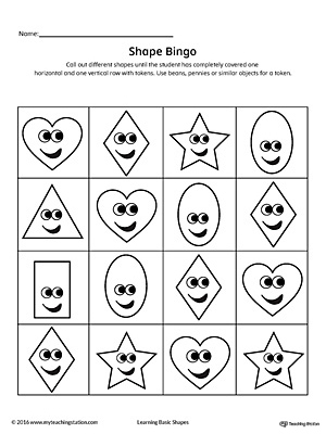 image about Shape Bingo Printable called Geometric Condition Bingo Printable Card: Centre, Diamond, Oval