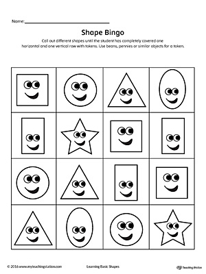 Practice identifying geometric shapes while having a ton of fun playing bingo! This card contains the square, circle, triangle, rectangle, oval and star shapes.
