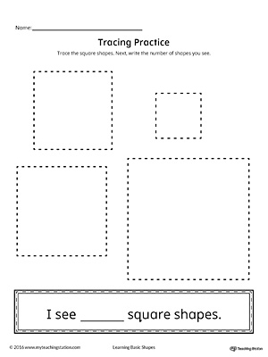 math worksheet : geometric shape counting and tracing square  myteachingstation  : Square Worksheets