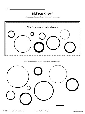 Geometric Shape Sizes and Variations: Circle