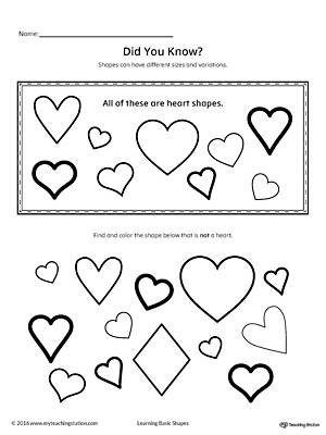 Geometric Shape Sizes and Variations: Heart