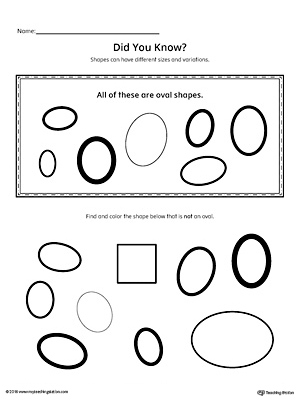 Geometric Shape Sizes and Variations: Oval