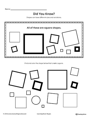 Geometric Shape Sizes Variations Square Printable Worksheet on letter b worksheets for preschool