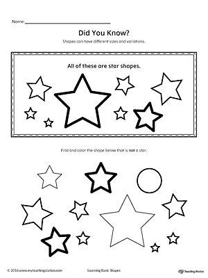 Geometric Shape Sizes and Variations: Star