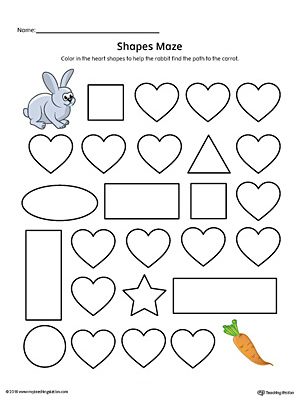 Heart Shape Maze Printable Worksheet (Color)