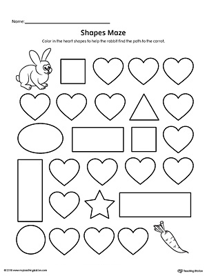 picture relating to Printable Shapes Worksheets referred to as Middle Form Maze Printable Worksheet