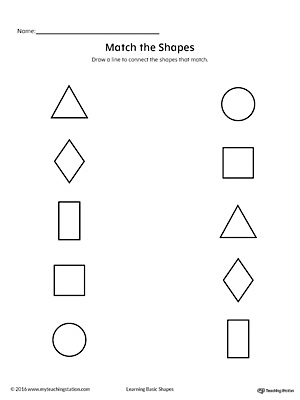 Match Geometric Shapes: Square, Circle, Triangle, Rectangle, and Diamond