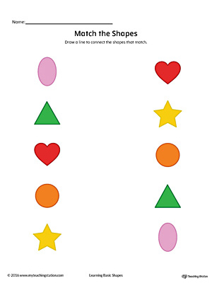 Match Geometric Shapes: Oval, Circle, Triangle, Heart, and Star (Color)
