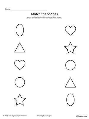 Match Geometric Shapes: Oval, Circle, Triangle, Heart, and Star
