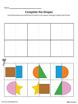 Match Shapes Cut and Paste: Rectangle, Star, Square, Triangle, Oval, Circle (Color)