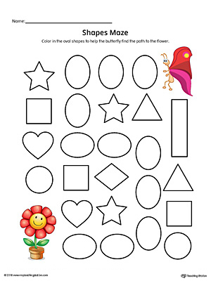 Oval Shape Maze Printable Worksheet (Color)