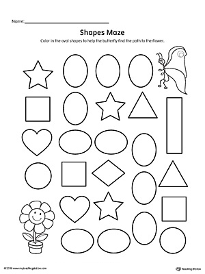 image relating to Printable Shapes Worksheets identify Oval Condition Maze Printable Worksheet