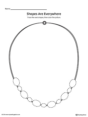 Oval Shape Picture Tracing Worksheet